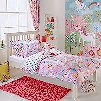 Unicorn Individual para niñas cama de matrimonio juego de funda de edredón y funda de almohada de flores de arcoíris, color rosa