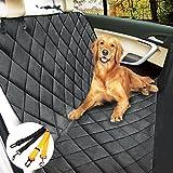 Morpilot Cubierta del asiento de coche universal para perro Protector asiente de coche Ipermeable Anti-deslizante Ptector de mascotas con anclas + Coche de seguridad del cinturón de camiones SUV - Negro