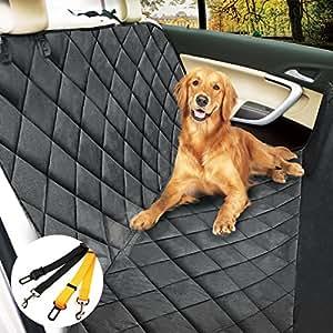 morpilot Housse Voiture Chien/Chat, Protection de Siège Auto Imperméable Anti-Rayures + 2 Ceintures Sécuritaires (147cm x 137cm) - Taille Universelle pour Voiture Camion SUV