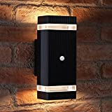 Auraglow PIR Motion Sensor Double Up & Down Outdoor Wall Security Light - Black - Warm White