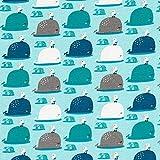 Fabulous Fabrics Baumwolljersey niedliche Wale und Möwen