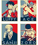 """Satz von Mini-Poster """"Propaganda"""" One Piece - 4 Post-Karten (20x15 cm)"""