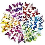 WINOMO 6 colores pared pegatinas 3D mariposa extraíble Mural pegatinas de calcomanías para el hogar y la decoración de la habitación 72pcs