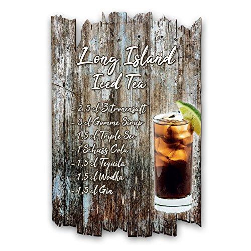 Kreative Feder Long Island Iced Tea Cocktail Rezept Holzschild Shabby Chic Landhaus Stil - Wand Deko fürs Zuhause - ideal als Geschenk für Familie und Freunde 30x20cm -