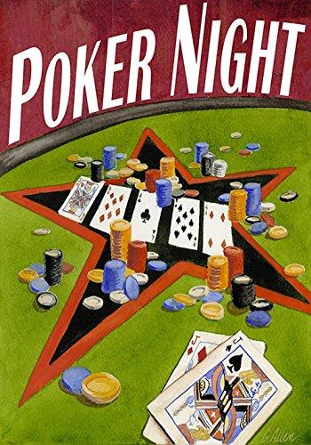 DIYCCY Poker Nuit 68,6x 94cm Décoratif Amusant Jeu de Cartes Texas Hold'em Chips Maison Drapeau