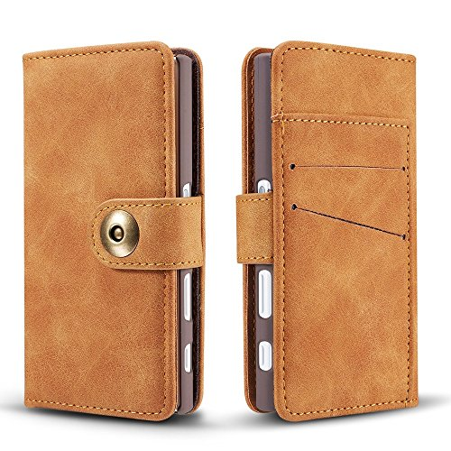 EKINHUI Case Cover Retro Style abnehmbare magnetische Leder Tasche mit großem Capard Card Cash Slots und Secure Niet Gürtelschnalle für Sony Xperia XZ ( Color : Khaki ) Khaki