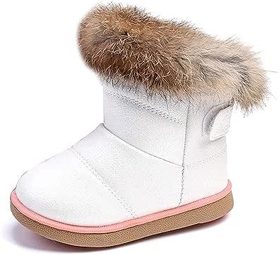 KVbabby Bambine e Ragazze Carino Stivali da Neve Morbide Fodera calda Stivali Scarpe di Cotone Piatto Pelliccia Stivali