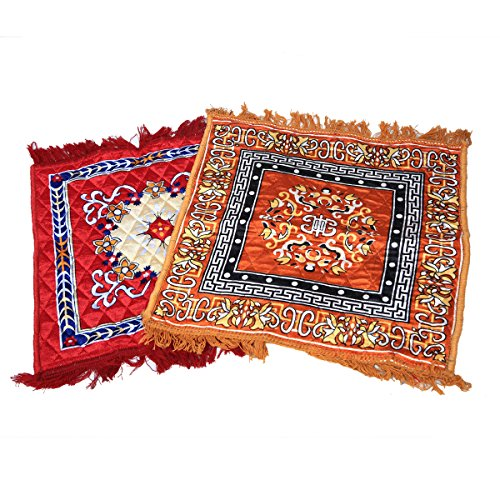 Kuber Industries™ Velvet Pooja Aasan, Pooja Mat Set of 2 Pcs Red & Golden (2 Ft X 2 Ft)