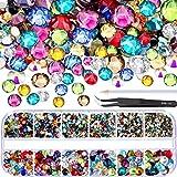 2000pezzi posteriore piana gemme rotonde di cristallo STRASS 6misure (1.5-6mm) con pick up pinzetta e strass volto Picking penna per creazioni nail art vestiti scarpe borse fai da te Multicolors
