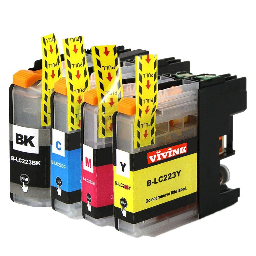 Vivink confezione da 4cartucce d' inchiostro compatibili per Brother LC 223XL/LC-223XL cartucce d