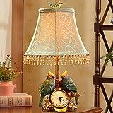 Schlafzimmerdekoration tischleuchte Vogel-uhr Pastorale moderne kreativ-lampe