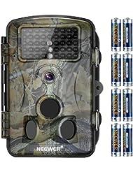 Neewer 1080P 12MP HD Caméra de Chasse Digitale Infrarouge 2,4 pouces LCD Dcran, 42 IR LEDS, Vision de Nuit de 120 Degrés Grand Angle, Imperméable et Antipoussière pour Surveillance Chasse Enquête Secrete avec 8 Paquets de 6LR Batterie AA Alkaline