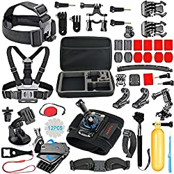 56-en-1 Kit Accessoires pour GoPro Hero 7 Black Max Hero8 Hero7 6 5 Session 4 3, Crosstour, APEMAN, AKASO, YI Caméra Action Sport, avec Perche Harnais Support Gopro Fixation Poignée Flottante Boîtier