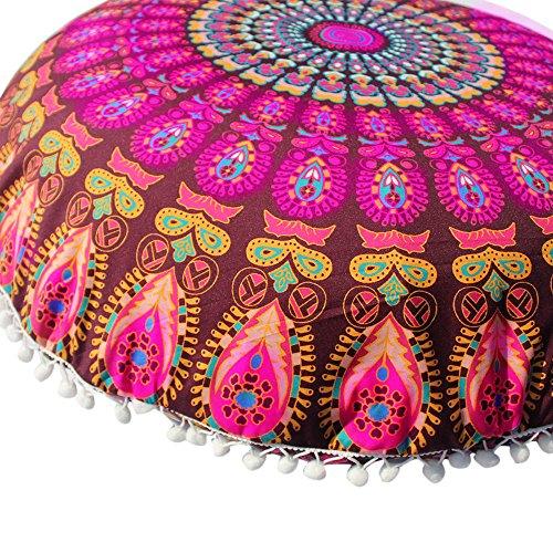 VECDY Nouveaux Produits Mode Estivale Doux Et Confortables Grand Mandala Coussins De Sol Housse De Coussin De Méditation Ronde Bohème Pouf(C,80 * 80cm