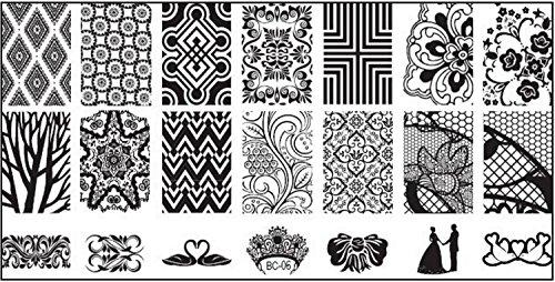 Pochoir de stamping XL 12 x 6 cm – # BC 06 Pointes, dentelle, fleurs, fleurs, forêt, cygnes, couronne, couple, colombes, mariage, couple de mariés