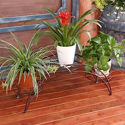 Arched Iron Art Plant Shelf Européen - Style Indoor And Outdoor Flower Stand Balcon Floor Flower Pots Shelf Multi-Color Optionnel (Couleur : Brass)