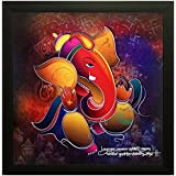 Ganesha Framed Paintings   Ancient Art   Special Effect Textured   Hindu God Painting   Best Choice To Gift   Shivji's Son Painting   Size : 12*12 Inches   Well Designed By Paper Plane Design