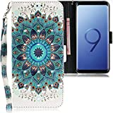 CLM-Tech kompatibel mit Samsung Galaxy S9 Hülle, PU Leder-Tasche mit Stand, Kartenfächern, Lederhülle Kunstleder, Blume Ornament grün Mehrfarbig