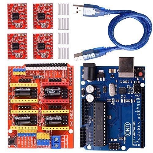 Longruner CNC Shield Expansion Board V3.0 +UNO R3 Board + A4988 Stepper Motor Driver With Heatsink for Arduino Kits LK75