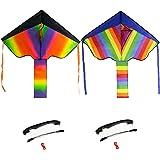 DONQL Förpackning med 2 flygande drake flyg kite med lång färgsvans med 100 m kite linje kite kit vind kite enkel linje kite