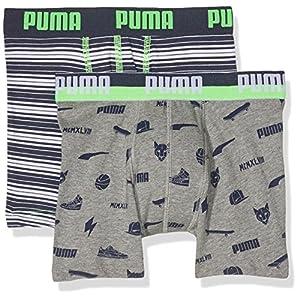 Puma Jungen Multilogo and Stripe Print Boxer 2p Unterhose