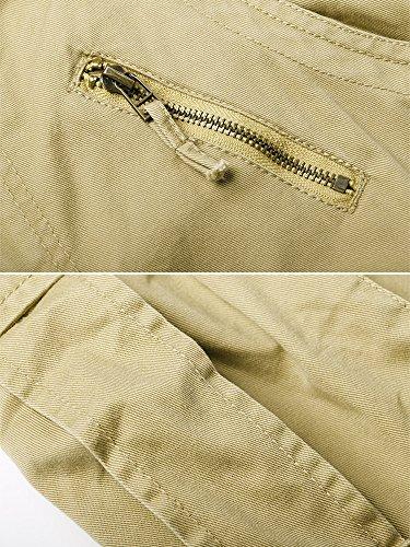 OCHENTA Herren Freizeithose Wasserwäsche Cargohose mehrere Tasche aus Baumwolle Loose-Fit #3357 Khaki