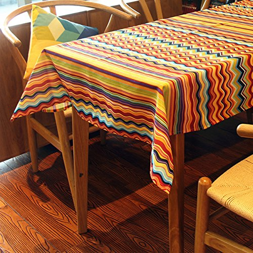 Colorized Stripe Spectrum Fashion Theme Polyester Fibre Terylene Material Tablecloth Table Cover Wipe Clean Waterproof Oilproof Mildewproof Skidproof Stain resistant.(140x180cm)