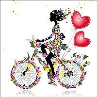 DIY 5d Diamond pintura por número Kit, Girl Riding Bike cristal Rhinestone adornos de punto de cruz, diseño de bordado artes manualidades lienzo pared decoración