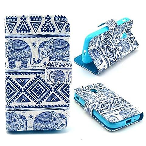 PU Leather Coque pour Samsung Galaxy Ace 2 i8160 - Aohro Wallet Flip Stand Cover Case Cuir Portefeuille Housse Etui avec Card Slots + Stylus Pen--Style 07