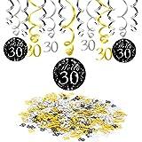 Konsait 30 cumpleaños negro colgar remolino decoración de techo (15 cuentas), feliz cumpleaños & 30 mesa confeti (1.05 oz) para decoraciones de 30 cumpleaños mujer hombre (30 cumpleaños)