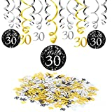 Konsait 30. Geburtstag Dekoration, 30. Geburtstag Swirl Folienspiralen zum Aufhängen (15 Stück), Happy Birthday & 30 Konfetti schwarz ORO für deko 30. Geburtstag Dreißig Jahre