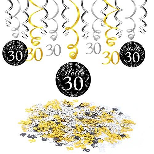 ag Dekoration, 30. Geburtstag Swirl Folienspiralen zum Aufhängen (15 Stück), Happy Birthday & 30 Konfetti schwarz ORO für deko 30. Geburtstag Dreißig Jahre ()