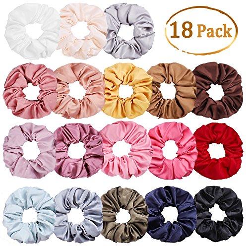 Whaline 18 Stück Satin Haar Scrunchies Elastisches Haargummis Haarband Gummibänder für Frauen und Mädchen (18 Farben) - Rose Haargummi