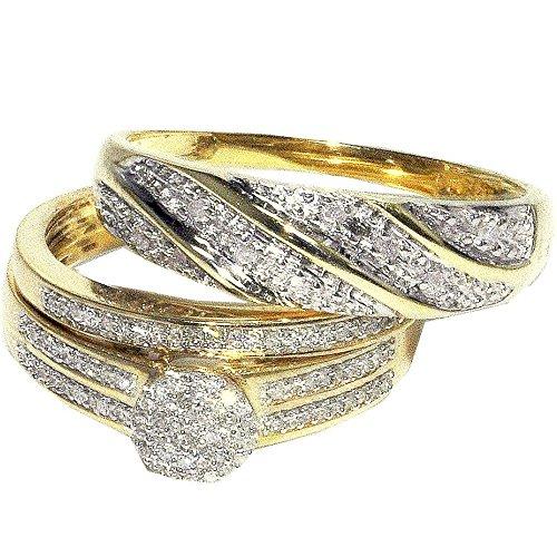 Midwest, gioielli da donna, motivo: suo e suo Trio-Set di anelli 0,3Cttw diamanti, 10 K, in oro giallo 9 ct, 3 pezzi (I/Jcolor 0,3Cttw)
