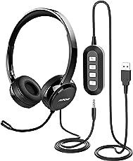 Mpow PC Headset, Multifunktional Klinke Headset, USB Headset & 3.5mm Chat Headset,Stereo Sound Audio Kopfhörer,Computer Headset mit Mikrofon,Telefon Headset für Skype Anrufe Teamspeak Konferenz Mac PC Smartphone Tablet TV (Schwarz)