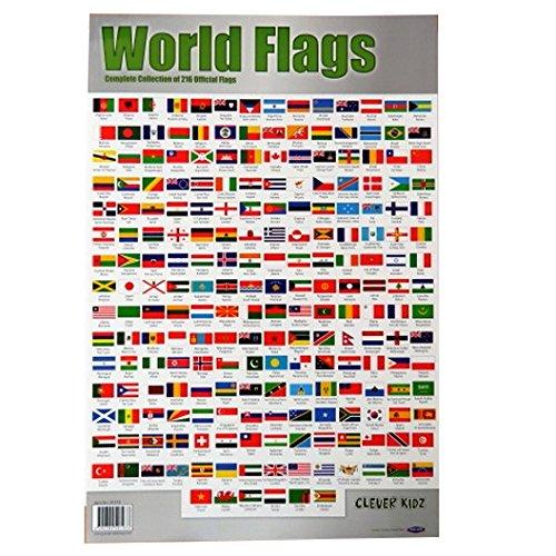 e Sammlung von Flaggen der Welt, große Farbe Mauer Poster - Größe 840 mm x 495 mm ()