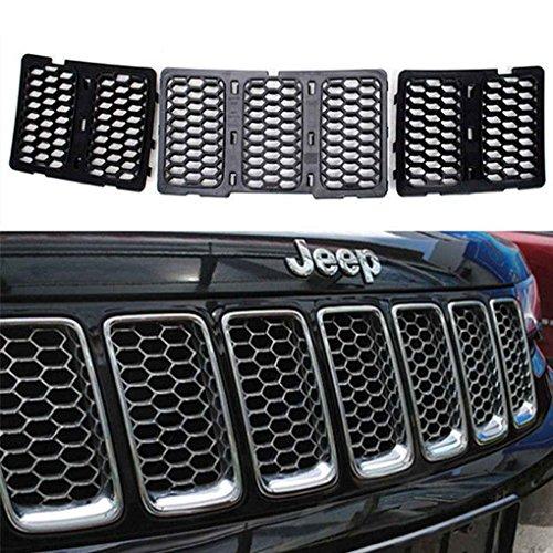 Mengonee ABS Chrome Einsätze Honig Kamm Mesh Grille Trim Cover Kit für Jeep Grand Cherokee 2014-2016 Auto Zubehör (Zubehör Cherokee Jeep)