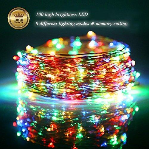 100 LED Lichterkette batteriebetrieben mit Fernbedienung Wasserdicht 10M LED Fairy Lights Dekoration für Innen Außen Garten Weihnachten Party Festival Hochzeit - bunt (Dekorative Blenden Sie Eine Taste)