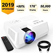 AMERTEER Mini Portable Projector, 2200 lumen Full HD LED Video Projector Compatible with HDMI, VGA, USB, AV, SD for Home Thea