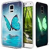Galaxy S5 Hülle,Galaxy S5 Neo Hülle,Galaxy S5/S5 Neo Schutzhülle,Bunte Gemalt Muster [Leuchtend Luminous] Handyhülle TPU Silikon Hülle Handy Hülle Tasche Schutzhülle für Galaxy S5,Blau Schmetterling
