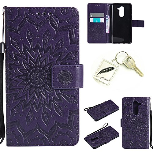 Silikonsoftshell PU Hülle für Huawei Honor 6X (5,5 Zoll) Tasche Schutz Hülle Case Cover Etui Strass Schutz schutzhülle Bumper Schale Silicone case(+Exquisite key chain X1)#KD (7)