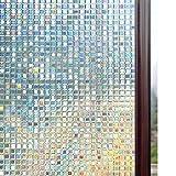 rabbitgoo Fensterfolie 3D Sichtschutzfolie Fenster Statisch Folie Selbsthaftend Privatsphäre Dekofolie Anti-UV für Zuhause oder Büro 60 x 200 cm