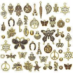 juanya Großhandel von 50Stück antik gold sortiert Charms Anhänger DIY für Schmuckherstellung