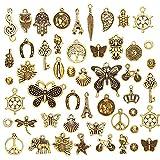 juanya al por mayor 50piezas dorado antiguo varios encantos DIY Colgantes para fabricación de joyería