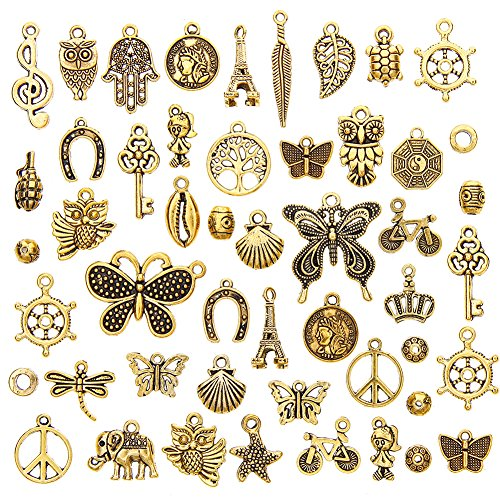 juanya 50 Stück Antik Gold Sortiert Halskette Anhänger Vintage Schlüsselanhänger DIY Schmuckherstellung -