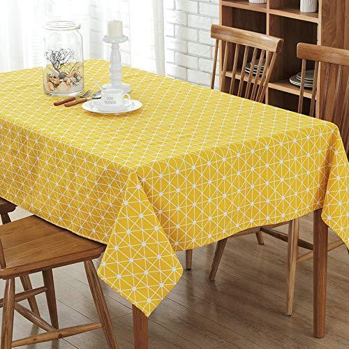 WXQQ Anti-Fade Jacquard Tischdecke antibakterielle und Anti-Falten-Wohnkultur Tischdecke für Küche, Esszimmer, Terrasse, Café, Party oder Picknick Yellow 120x160cm