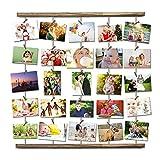 Uping Bilderrahmen Hangit Fotowand Collagenbilderrahmen Fotoleine Collage Bilder Fotorahmen Holzbilderrahmen in Wäscheleinenoptik mit 30 Holzklammern und 5 Hanfseil