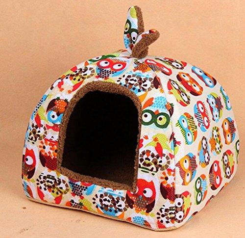 Komia Owl Kuschelhöhle für große Katzen und kleine Hunde geeignet Indoor Hundehaus Warmer Höhlenbett