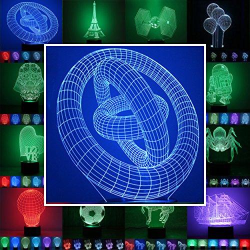 3D Lampe 3D Leuchte 3D LED Stimmungslicht. 7 Farben - Auswahl aus 81 verschiedenen Motiven, hier Ringe ca. 21x15cm inkl.Sockel - 3D Illusion Dekolicht mit USB Anschluß und 220V USB Netzteil (Spinnen Ringe)