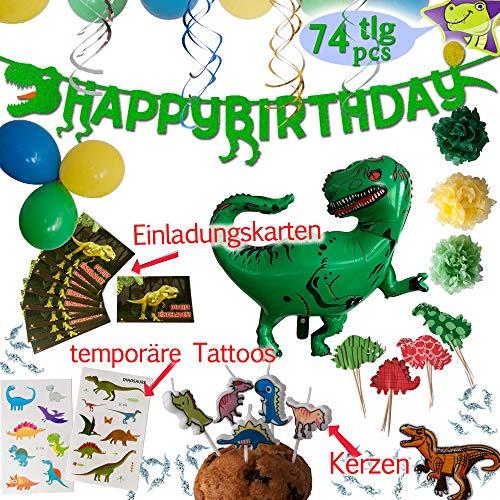 LumeeStar Dinosaurier Party-Set Geburtstagsdeko Dino Deko | Banner | Girlande | Folienballon | Einladungskarten | Kerzen | Cupcake Topper | Tattoos | Bügelbild